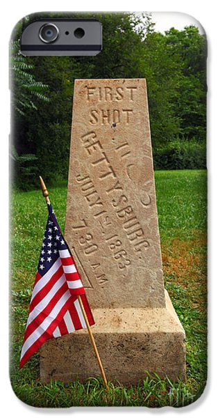 First Shot Monument Gettysburg iPhone Case by James Brunker