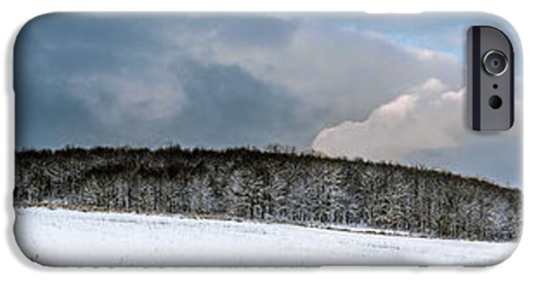 Snowy Day iPhone Cases - First snow across a farm field iPhone Case by Chris Bordeleau