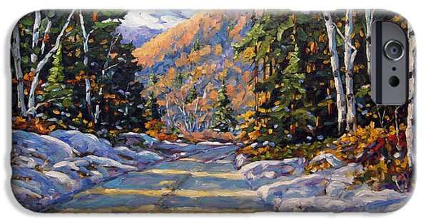 Kids Playing Hockey Paintings iPhone Cases - First Snow by Prankearts iPhone Case by Richard T Pranke