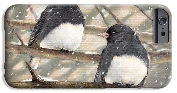 Graphite Drawing Pastels iPhone Cases - First Snow dark-eyed Juncos iPhone Case by Laurie Musser