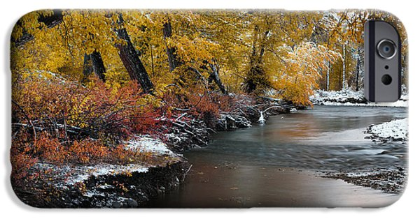 Autumn iPhone Cases - First Snow iPhone Case by Leland D Howard