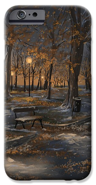 Snowy Night iPhone Cases - First snowfall iPhone Case by Veronica Minozzi