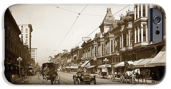 Recently Sold -  - Santa iPhone Cases - First Street downtown San Jose California circa 1905 iPhone Case by California Views Mr Pat Hathaway Archives