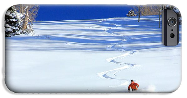 Skiing iPhone Cases - First Tracks iPhone Case by Johnny Adolphson