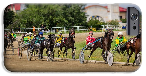 Horse Racing Pyrography iPhone Cases - First turn after the start of the race iPhone Case by Gabriel Radulescu