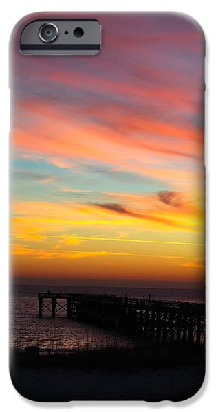 Ocean Sunset Pyrography iPhone Cases - First view iPhone Case by Madison Armstrong