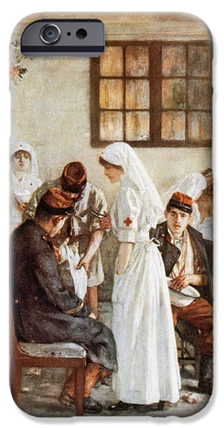 World War 1 iPhone Cases - First Wordl War. Nurses With Wounded Soldiers. Poitiers iPhone Case by Bridgeman Images