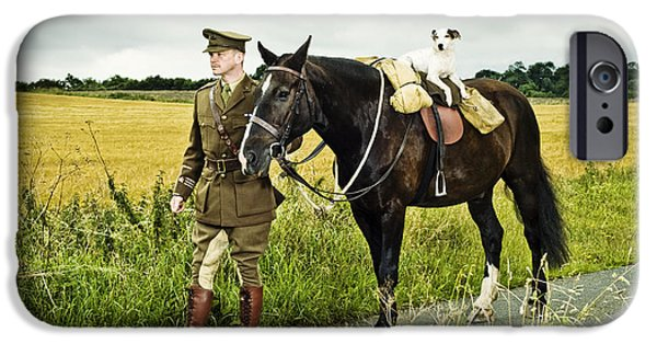 Ww1 iPhone Cases - First World War British soldier with horse and dog iPhone Case by Jon Boyes