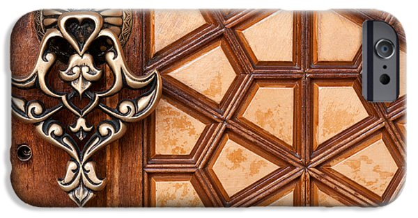 Istanbul iPhone Cases - Firuz Aga Mosque Door 03 iPhone Case by Rick Piper Photography