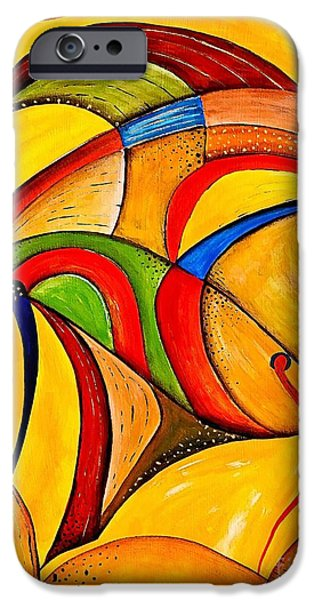 Abstract Digital Paintings iPhone Cases - Fish 534-11-13 marucii iPhone Case by Marek Lutek
