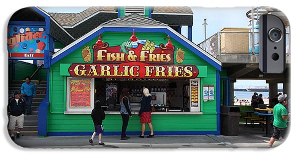 Santa Cruz Ca iPhone Cases - Fish And Fries At The Santa Cruz Beach Boardwalk California 5D23687 iPhone Case by Wingsdomain Art and Photography