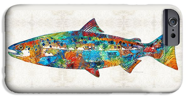 River iPhone Cases - Fish Art Print - Colorful Salmon - By Sharon Cummings iPhone Case by Sharon Cummings