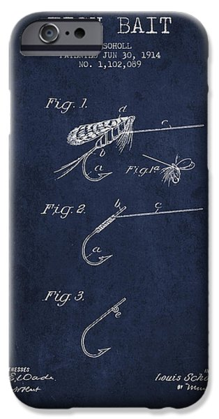 Sports Fish iPhone Cases - Fish Bait Patent from 1914 - Navy Blue iPhone Case by Aged Pixel
