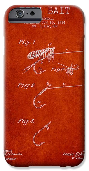 Sports Fish iPhone Cases - Fish Bait Patent from 1914 - Red iPhone Case by Aged Pixel