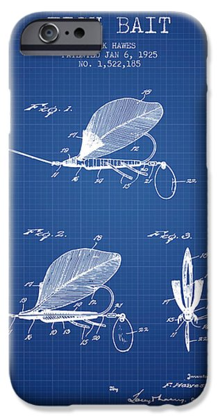 Sports Fish iPhone Cases - Fish Bait Patent from 1925 - Blueprint iPhone Case by Aged Pixel