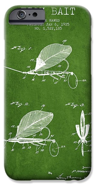 Sports Fish iPhone Cases - Fish Bait Patent from 1925 - Green iPhone Case by Aged Pixel