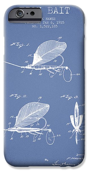 Sports Fish iPhone Cases - Fish Bait Patent from 1925 - Light Blue iPhone Case by Aged Pixel