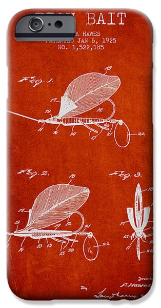 Sports Fish iPhone Cases - Fish Bait Patent from 1925 - Red iPhone Case by Aged Pixel