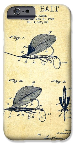 Sports Fish iPhone Cases - Fish Bait Patent from 1925 - Vintage iPhone Case by Aged Pixel