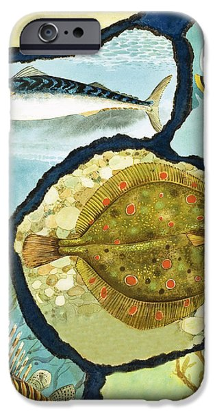 Ocean Drawings iPhone Cases - Fish iPhone Case by English School
