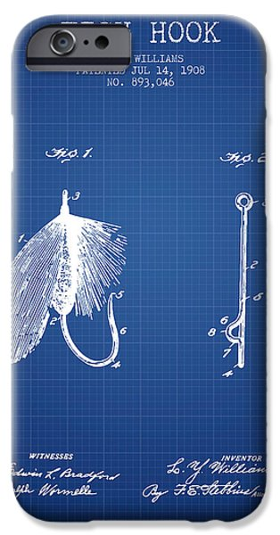 Sports Fish iPhone Cases - Fish Hook Patent from 1908- Blueprint iPhone Case by Aged Pixel