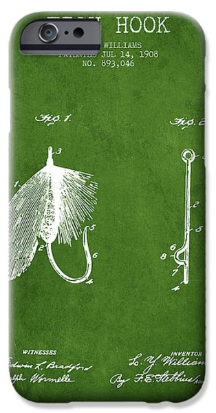 Sports Fish iPhone Cases - Fish Hook Patent from 1908- Green iPhone Case by Aged Pixel
