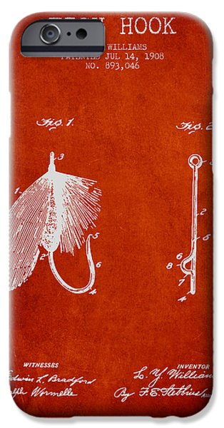Sports Fish iPhone Cases - Fish Hook Patent from 1908- Red iPhone Case by Aged Pixel