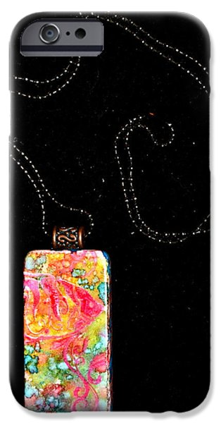 Yellow Jewelry iPhone Cases - Fish In Focus Domino Pendant iPhone Case by Beverley Harper Tinsley