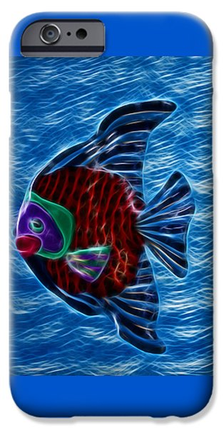 Angel Blues Mixed Media iPhone Cases - Fish In Water iPhone Case by Shane Bechler