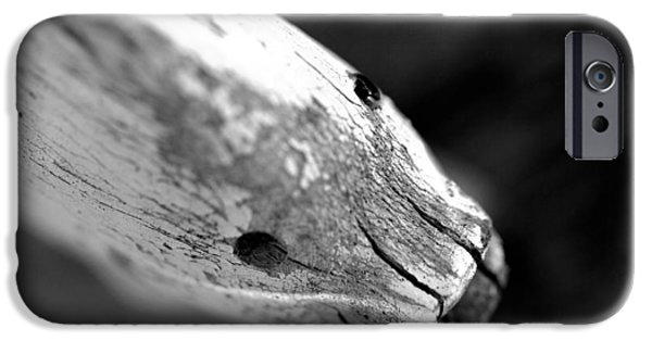 Red Rock Mixed Media iPhone Cases - Fish in wood in black and white  iPhone Case by Toppart Sweden