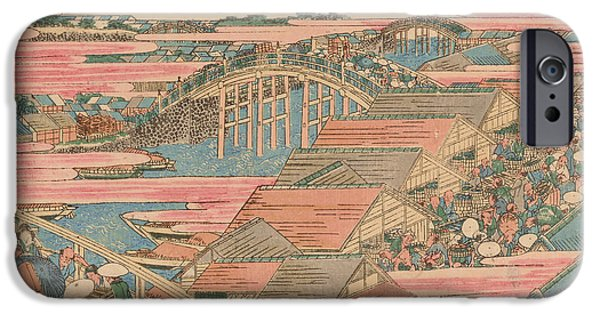 Japan Town iPhone Cases - Fish Market by River in Edo at Nihonbashi Bridge  iPhone Case by Hokusai