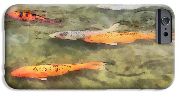 Fish Pond iPhone Cases - Fish - School of Koi iPhone Case by Susan Savad