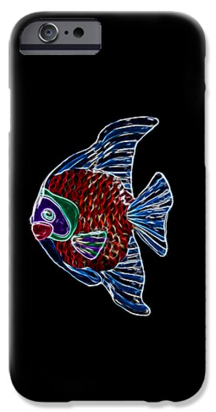 Angel Blues Mixed Media iPhone Cases - Fish Tales iPhone Case by Shane Bechler