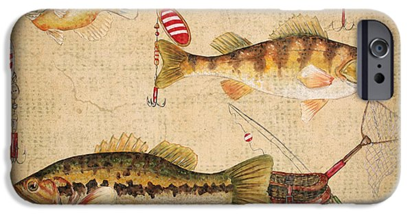 Wild Trout iPhone Cases - Fish Trio-A-Basket Weave Border iPhone Case by Jean Plout