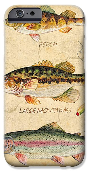 Wild Trout iPhone Cases - Fish Trio-B iPhone Case by Jean Plout