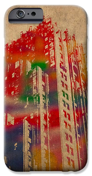 Buildings Mixed Media iPhone Cases - Fisher Building Iconic Buildings of Detroit Watercolor on Worn Canvas Series Number 4 iPhone Case by Design Turnpike