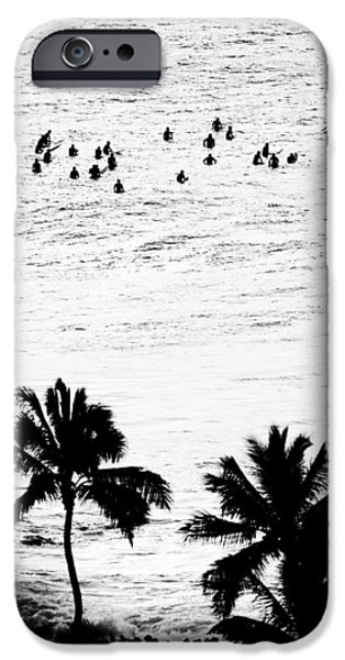 Surf Silhouette iPhone Cases - Fisher Palms iPhone Case by Sean Davey