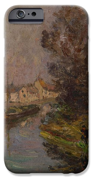 Fishermen iPhone Cases - Fisherman At Douai Oil On Canvas iPhone Case by Henri Duhem