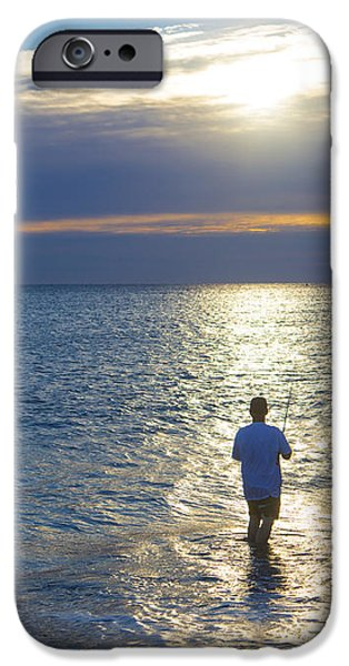 Fisherman at Sunrise iPhone Case by Diane Diederich