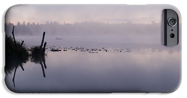 Local Attraction iPhone Cases - Fisherman On Small Lake In Fog iPhone Case by Jim Corwin