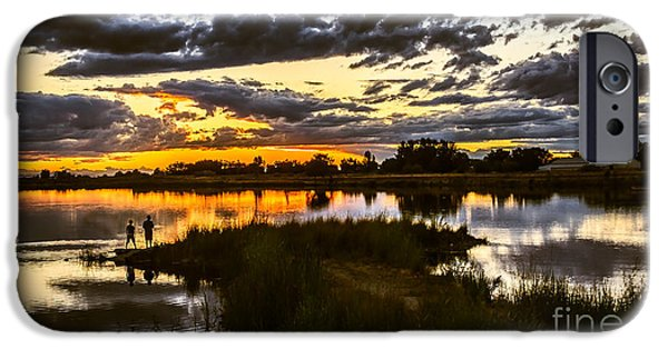 Haybale iPhone Cases - Fisherman Sunset iPhone Case by Robert Bales