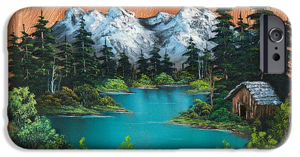 Bob Ross Paintings iPhone Cases - Fishermans Cabin iPhone Case by C Steele