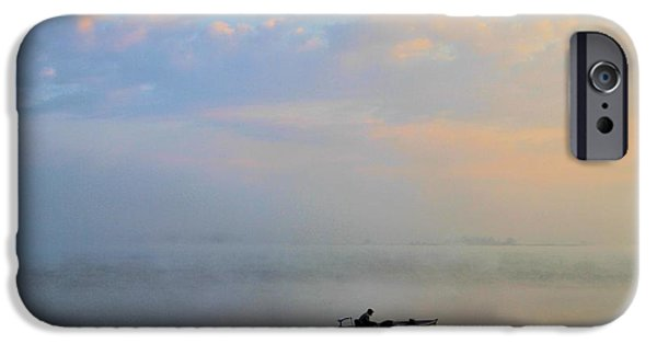 Fog Mist iPhone Cases - Fishermans Solitude In Ohio iPhone Case by Dan Sproul