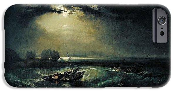 Romanticism iPhone Cases - Fishermen at sea 1796  iPhone Case by Joseph Mallord William Turner