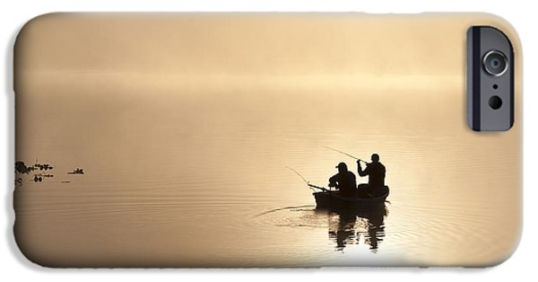 Local Attraction iPhone Cases - Fishermen In Boat, Lake Cassidy iPhone Case by Jim Corwin