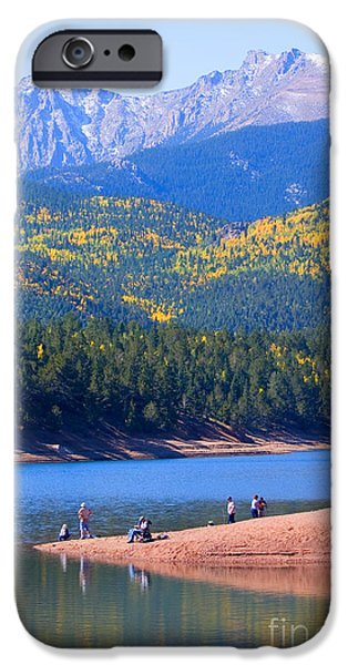 Golden Trout iPhone Cases - Fishermen on Crystal Lake on Pikes Peak iPhone Case by Steve Krull