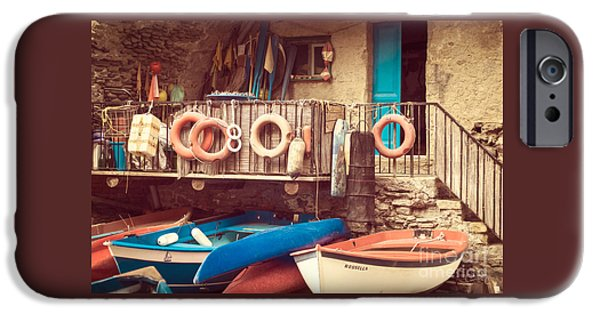 Charly iPhone Cases - Fishermen Supplies of Riomaggiore iPhone Case by Prints of Italy