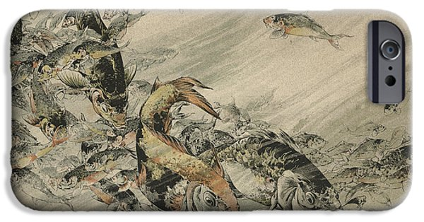 Auguste iPhone Cases - Fishes iPhone Case by Jules-Auguste Habert-Dys