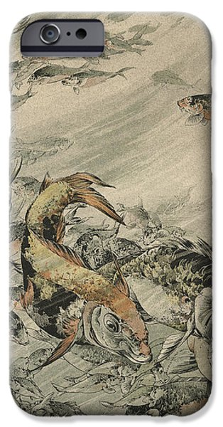 Fishes iPhone Case by Jules-Auguste Habert-Dys