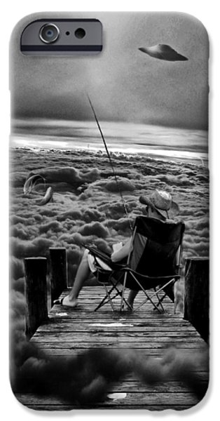 Altered iPhone Cases - Fishing Above the Clouds grayscale iPhone Case by Marian Voicu